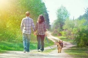 a couple walking their dog